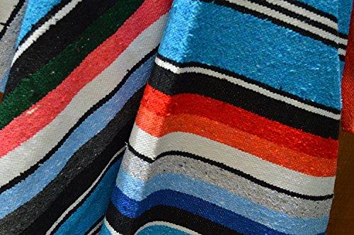 Galaxy Reborn Mexican Blanket All Cotton Striped Serape XLarge 84 x 56 in Turquoise Premium Handwoven Yoga Tribal Southwestern Native Rug Bohemian Decor