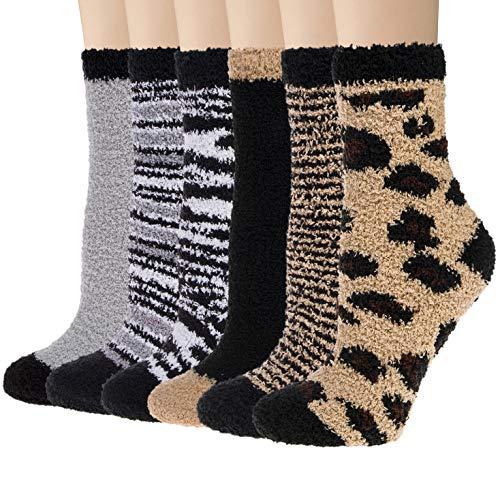 Justay Kuschelsocken Damen Herren Bettsocken Winter Warme Flauschige Kuschelsocken Nettes Muster Design kuschelsocken 37-42, 6 paar MEHRWEG