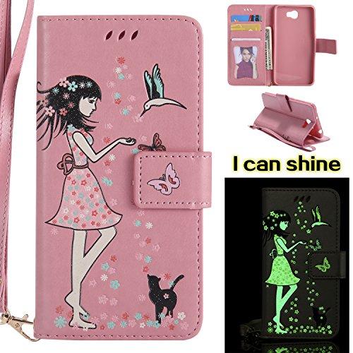 MAOOY Lederhülle Huawei Y5II, Schöner Mädchen & Blume Linderung Muster Hülle für Huawei Honor Play 5, Leuchtender Effekt Ledertasche mit Handschlaufe und Ständer und Karten Slot für Huawei Y5II, Rosa
