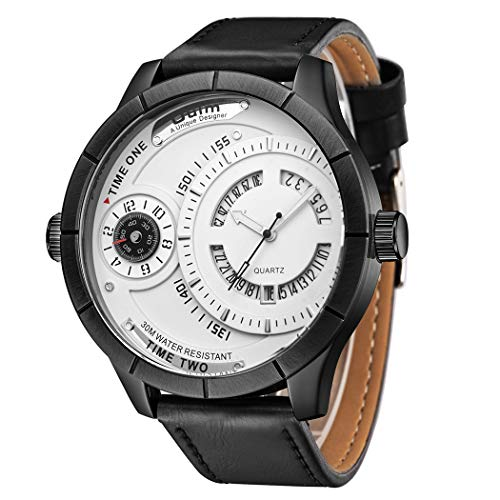 Justdolife herenhorloge, multifunctioneel zakelijk horloge met twee wijzerplaten en kwarts sporthorloge Eén maat zwart + wit