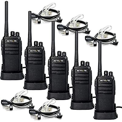 Retevis RT21 Walkie Talkies 16CH FRS Two Way Radio VOX Scrambler 2 Way Radios(5 Pack) with 2 Pin Covert Air Acoustic Earpiece (5 Pack)