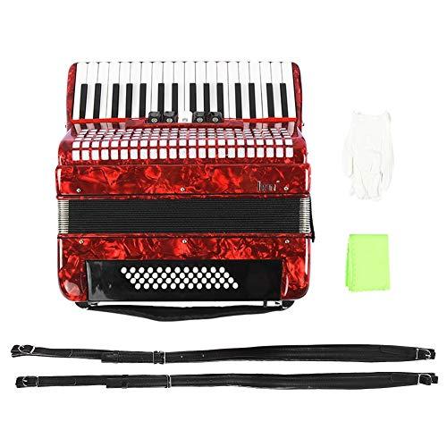 Rojo 34 Teclas 48 bajo Acordeón de Piano de Mano, Adulto Principiante Acordeonista Instrumento de música con Funda de acordeón Correas Guantes y Tela