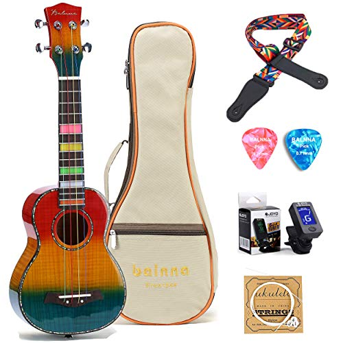 Balnna Concert Ukulele (23 inch) High-gloss Uke with Aquila Color Strings & Awesome Accessories, Maple Wooden Ukulele for Beginners,Classic and Professional Hawaiian Guitar