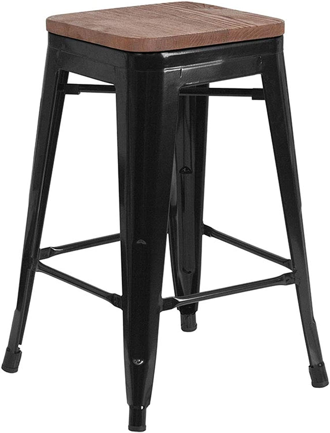 Flash Furniture 24  High Backless Metal Counter Height Stool Square Wood Seat - Black