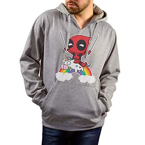 SUPERMOLON Sudadera Unisex Deadpool Unicornio Gris L con Capucha