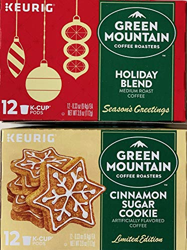 Green Mountain K-Cups Holiday Blend and Cinnamon Sugar Cookie Bundle (2 Items)