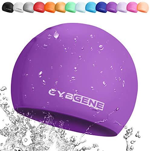 CybGene Silikon Badekappe für Kinder, Kind Schwimmkappe Bademütze für Kinder Schwimmunterricht-Lila
