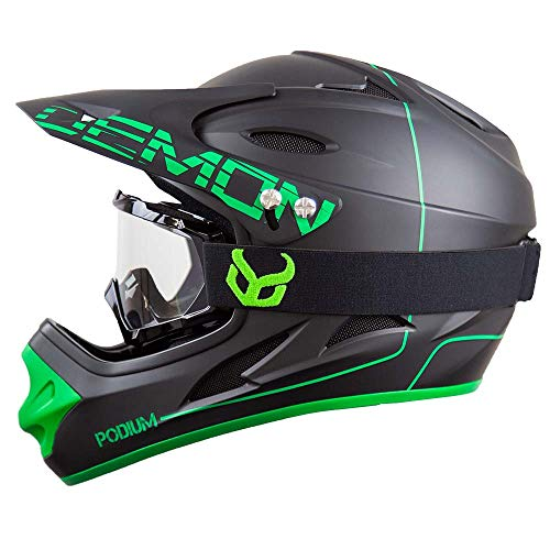 DEMON UNITED Podium Black/Green Full Face Mountain Bike Helmet- BMX Helmet- with Demon Viper MTB Goggles- 3 Goggle Color Options Available (Black Goggle Frame, Large)