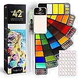 Magicfly 42 Acuarelas, Acuarelas Profesionales Plegable con colores clásico y fluorescentes, portátil juego de pintura de acuarelas para niños, adultos