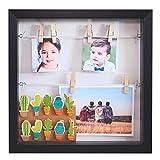 Gadgy ® Marco de Foto 3D con Profundidad | 18 Pinzas | Caja Madera Portafotos 25x25x4 cm | Efecto Profundo | Decoración de Pared Originales l Blanco/Negro (Negro)