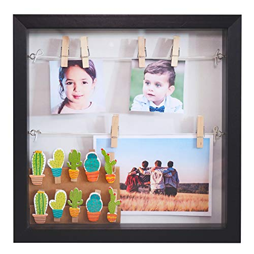 Gadgy  Box frame with 18 Clips | 10x10 inch (25x25x4 cm) | Black Box Design | 3D Shadow box | Display your Photo Memories