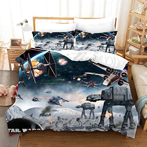 GDGM Juego de ropa de cama para niños, de Star Wars, funda nórdica + funda de almohada, con cremallera, ropa de cama infantil (A1, 135 x 200 cm + 75 x 50 cm x 1)