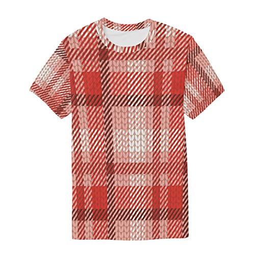 FANTAZIO heren T-shirt Poinsettia breien geruite patroon korte mouw ronde hals