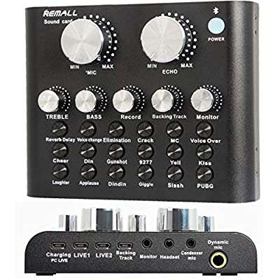 REMALL Sound Card Mixer with Effects and Voice Changer, Streamer Audio Mixer for Computer, iPhone, Mobile Phone, Type C, Laptop, V8 Live Sound Card for Podcast Karaoke Live Streaming Broadcast- V8A2