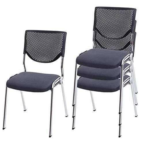 Mendler 4X Besucherstuhl T401, Konferenzstuhl stapelbar, Stoff/Textil ~ Sitz dunkelgrau, Füße Chrom