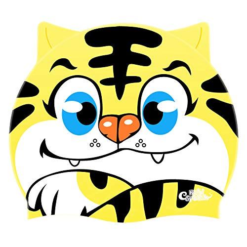 HeySplash Cuffia Nuoto Bambini Cuffia Impermeabile Da Nuoto In Silicone Con Design Tigre Elastico Accessori Costume, Cuffia Da Piscina Per Bambini - Giallo