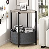 Amolife Round End Table/Sofa Side Table with Fabric Storage Basket for Living Room/Small Coffee Table / 24'' Round Bedside Table with Grey Rustic Wood Top and Black Metal Frame/Industrial Nightstand