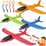 BooTaa 4 Pack Airplane Toys, Upgrade 13.5' Throwing Foam Plane, 2 Flight Mode Glider Plane, Flying Foam Airplane Toy, Yard Outdoor Game Toys, Gifts for 3 4 5 6 7 8 9 10 11 12 Year Old Boy Kids