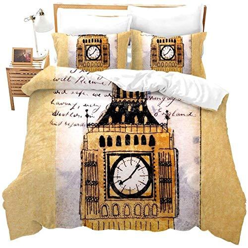 zzkds Ative Bedding Set 3 Piezas Vintage Big Ben Funda nórdica Moderno Reino Unido Londres Paisaje Urbano Funda de edredón Famoso Paisaje de la Ciudad Imprimir Colcha DormitorioCompleto