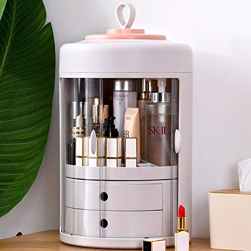 Inner 360-Degree Rotating Cosmetic Storage Box,Large-Capacity Multifunctional Portable Round Dustproof Makeup Organizer