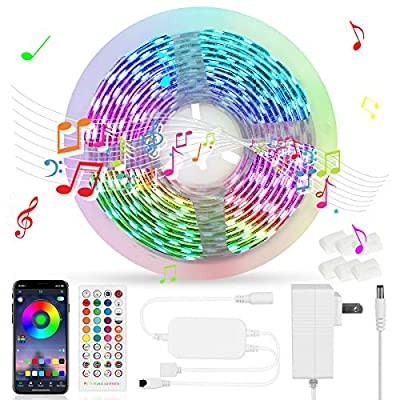 OASO LED Strip Lights with Music Sync,16.4ft RGB Color Changing Light Strips Kit with Remote,APP Control,SMD 5050 Multicolor Led Music Lights for Bedroom,TV,Party and Home Decoration