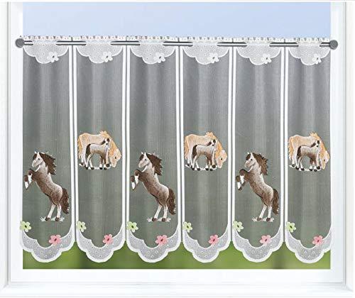 Clever-Kauf-24 Scheibengardine Pferd und Fohlen auf Wiese| Lamellenpanneau mit Stangendurchzug HxB 60x150cm | Kinderzimmer |