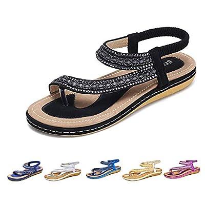 gracosy Summer Flat Sandals for Women, Bohemian Rhinestone Sandals Outdoor Flip Flops Beach Thong Anti-Slip Shoes Black 7.5 M US