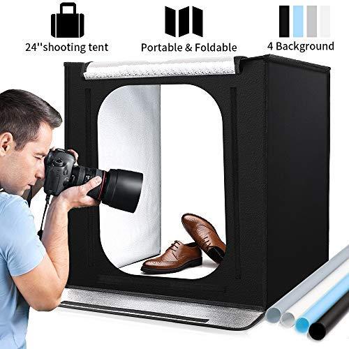 Lichtzelt mit Beleuchtung Fotostudio Set mit LED Leuchte, 60x60x60cm, inkl, Fotozelt Tragbare Lichtwürfel Insgesamt 4 Hintergründe (weiß/schwarz/blau/grau)