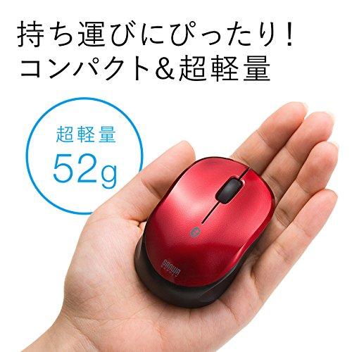 『サンワダイレクト Bluetoothマウス 超小型 充電式 Bluetooth4.0 ブルーLED レッド 400-MA074R』の5枚目の画像