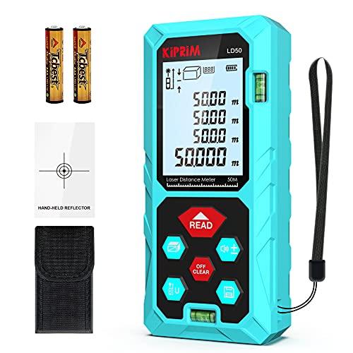 Medidor Láser de 50 m, Medidor de Burbujas Portátil, Medidor de Distancia Láser Almacena 99 Conjuntos de Datos, IP54, Apagado Automático, Calibración y Silencio Automáticos, Pantalla LCD de 4 líneas