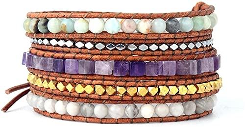 HYJMJJ Pulsera Feng Shui Bead Pulsera de Envoltura Semi Preciosa Piedra 5 Wrap Beads Correa de Cuero Pulseras Pulsera de Bohemia de inspiración nativa Regalos Pulsera de Abalorios de Amuleto