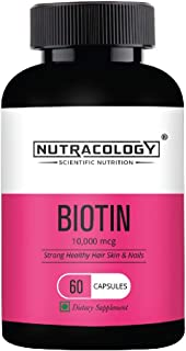 Nutracology Biotin 10000mg for hair growth, hair fall control, glowing skin and strong nails 60 capsules
