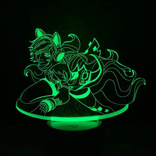 Luz de Noche Ilusión óptica Lámpara 3D 7 Colores Cambio de Control táctil Luz de Mesa LED Lámpara para Dormir Decoración del hogar Cumpleaños/Navidad/Regalos de Fiesta para niños (2519)