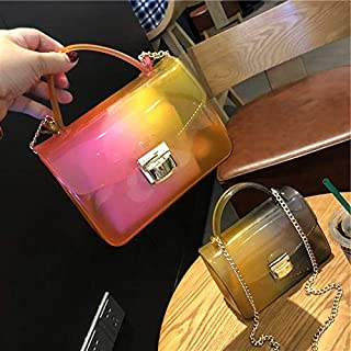 Adebie - 2019 Brand Designers Transparent Cross Body Bag Gradual Change Women Small Handbag Purses Flap Jelly Shoulder Bags Chains Casual Pink []