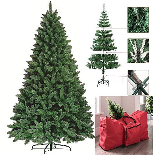 FlickBuyz-Colorado Green Pine Bushy Artificial Christmas Tree Tips 5ft/6ft/7ft Xmas Tree With Metal...