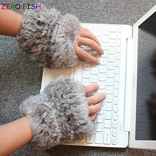 ZERO FISHHand Made knitted Fur Fabric real REX rabbit Fur Glove winter Gloves mittens mit handwear - (Color: grass grey, Gloves Size: elasticity)