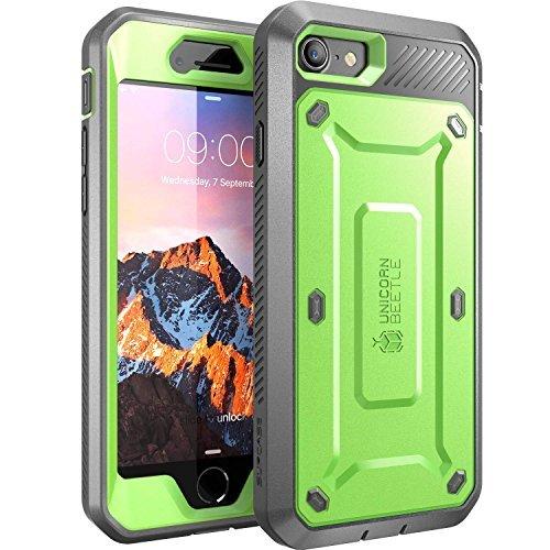 SupCase iPhone 7 Hülle, iPhone 8 Hülle, [Unicorn Beetle PRO] Outdoor Schutzhülle Stoßfest Handyhülle Case mit eingebautem Displayschutz und Gürtelclip für Apple iPhone 7 / iPhone 8, Grün/Grau