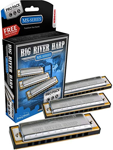 Hohner 3P590BX Big River Harp Pro Harmonica - 3-Pack
