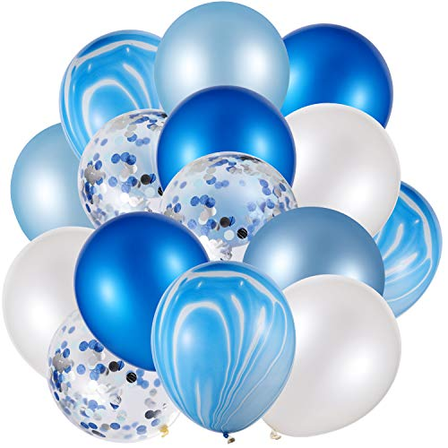 60 Stücke 12 Zoll Konfetti Luftballons Satz Achat Latex Luftballons Bunte Luftballons für Jungle Büro Festival Baby Dusche Hochzeit Geburtstag Party Lieferungen (Blau, Weiß)
