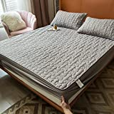 HAIBA Bedding - Cubrecolchón acolchado de microfibra suave, protector de colchón, también para camas con somier, gris, 90 x 200 cm + 40 cm