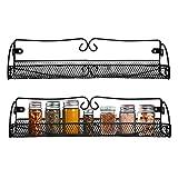 Especieros de Pared (2 Piezas) - 40x9x8.5cm - Negro Estante Especias para Organizador de Condimentos - Organizador para Puerta Despensa Estantería de Pared Especiero para Cocina, Alacena