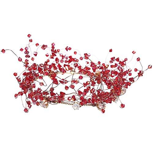 WGZ Tiara Nupcial Corona de Boda Nuevo Boda Coreano Accesorios for el Cabello Barroco Conjunto Atmósfera Nupcial Accesorios Accesorios (Color : Red)