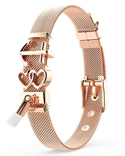 THIORA® - Armband mit Charms | Anhänger Charms | Rosegold | Anker | Geschenk | Mesh Charmband Set Damen (#Ibiza - Rosegold)