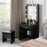 M&W Makeup Vanity Table Set with 3 Color LED Lighted Mirror, Dressing Desk with Large Drawer and Cushioned Stool for Bedroom, for Women, Black