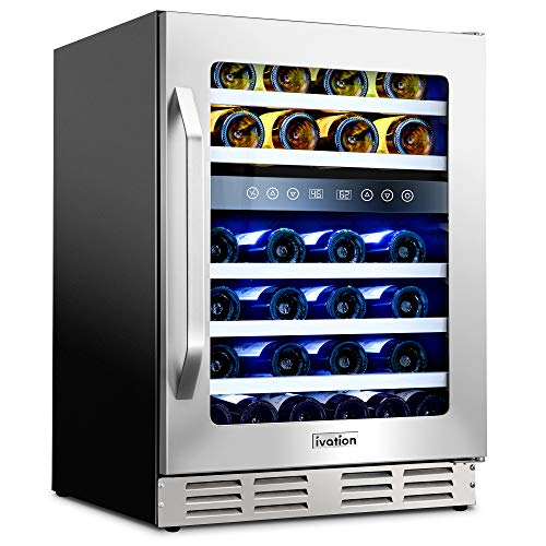 "Ivation 46-Bottle Dual-Zone 24"" Built-In Compressor Wine Cooler/Cellar Undercounter Wine Fridge, Temperature Control 40°-50°F/50°-66°F Refrigerator, Quiet Operation, LED Light, Glass & Stainless Steel"