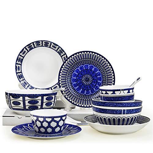 HaushaltKuche Cubiertos 16pcs Conjunto, Hueso Fina Cena China Conjunto de Porcelana, Estilo de Europ Azul, Termo Cuenco de Comida con los contenedores, Platos de Buffet de cerámica
