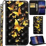 Ooboom Nokia 3.1 Hülle 3D Flip PU Leder Schutzhülle Handy Tasche Hülle Cover Ständer mit Trageschlaufe Magnetverschluss für Nokia 3.1 - Gold Schmetterling