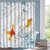 Juegos de Cortina de Ducha de baño Acuario Goldfishes Burbujas vívidas Cortinas de Cabina de Ducha