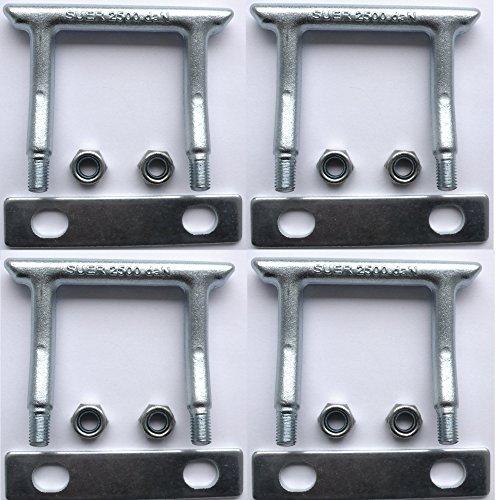 4 Verzurrösen eckig U-Bügel Zurrösen Ladungssicherung für PKW Anhänger Gurte