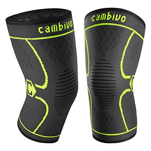 CAMBIVO 2 x Kniebandage Damen und Herren, Knieschoner, Kniestützer für Laufen, Wandern, Joggen, Sport, Volleyball, Crossfit (M, Schwarz/Grün)